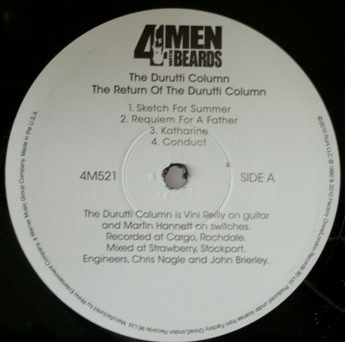 The Return of the Durutti Column; 4 Men With Beards 2010 reissue