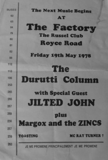 The Durutti Column with Jilted John at The Factory Friday 19 May 1978