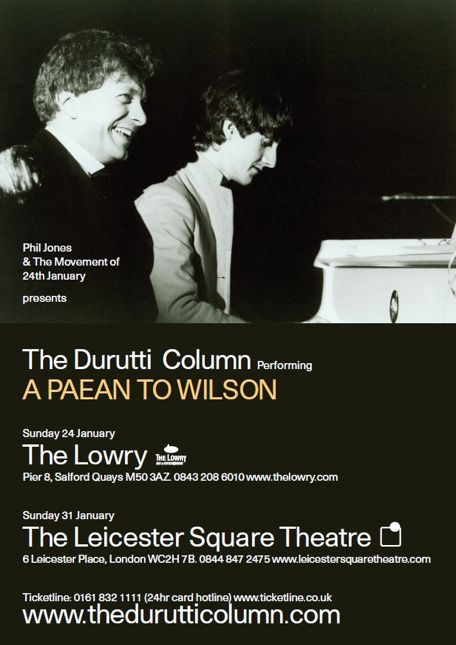 The Durutti Column live at The Lowry, Sunday 24 January 2010 and at the Leicester Square Theatre, Sunday 31 January 2010; poster